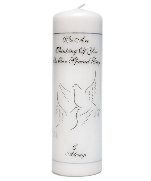 Personalised Wedding Day Memorial Candle with Silver Doves (23cm)