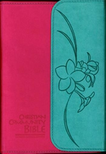 Christian Community Bible, Pink & Turquoise with Magnetic Clip