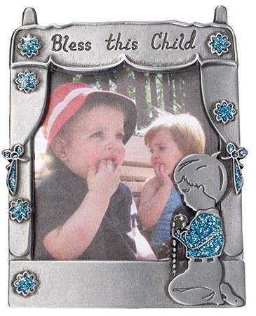 Pewter Photo Frame with praying boy