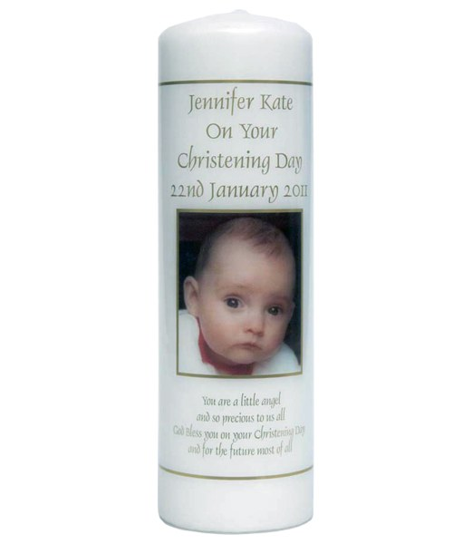 Personalised Baptism Candle with Photograph