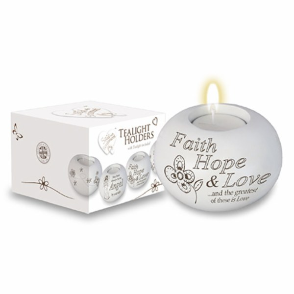 White Resin Faith, Hope and Love Candle Holder with Tealight