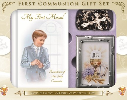First Holy Communion Boy Giftset, Book with Rosary Beads