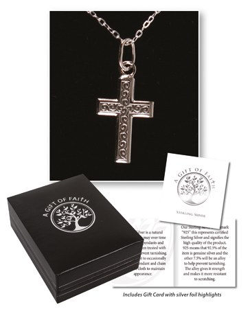 Sterling Silver Engraved Cross