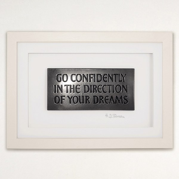 """Go Confidently in the Direction of your Dreams"" Wall Hanging Frame - Wild Goose Art (Lime)"