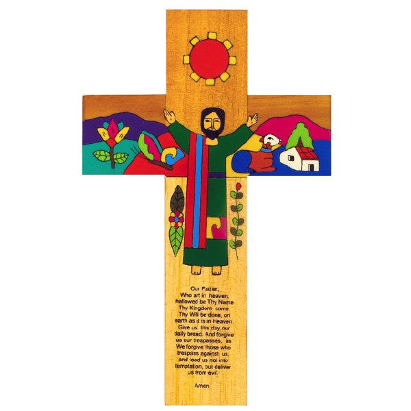 Our Father hand painted wooden cross (38cm)
