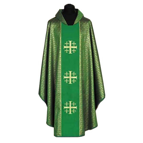 Green Chasuble with Gold Crosses Orphrey