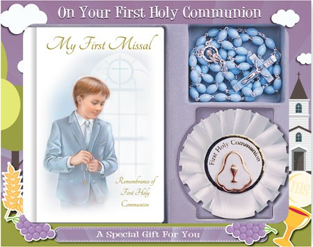 Boy First Holy Communion Book, Beads and Rosary