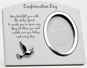 White Confirmation Frame with Silver Dove