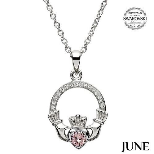 Claddagh Birthstone Necklace With Swarovski Crystals (June)