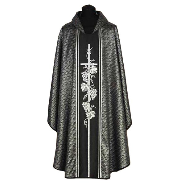 Black Chasuble with Silver Cross and Vines