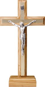 Standing Olive Wood Crucifix with Metal Inlay (20cm)