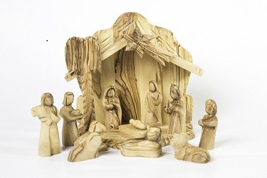 12 piece Olive Wood Nativity and Shelter