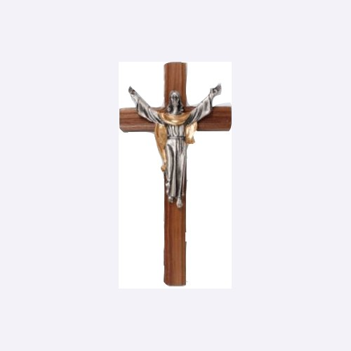 Hanging Walnut Wooden Crucifix (20cm)