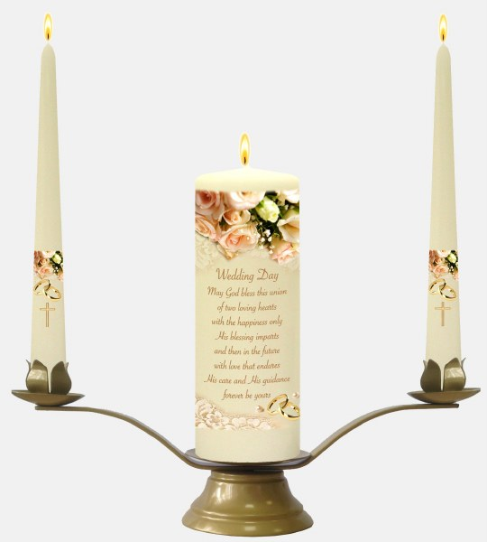 Ivory Rose Wedding Candle Boxed Set