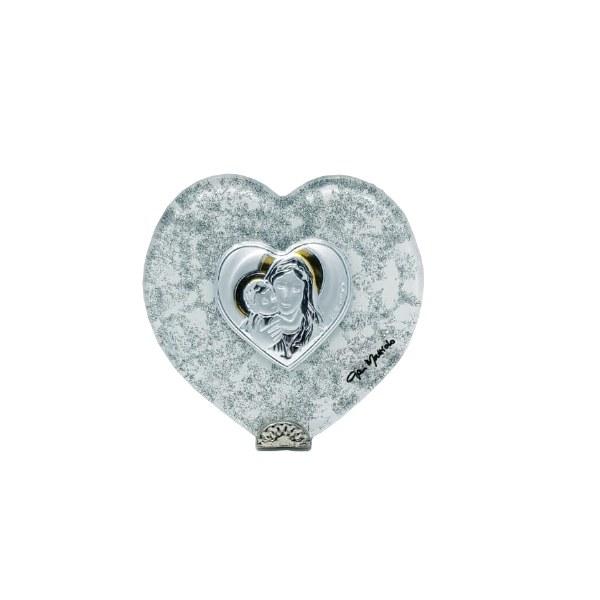 Madonna and Child Silver Heart icon (6 x 7cm)