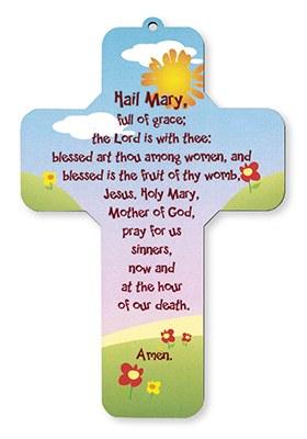 Wooden Hail Mary Cross (18cm)