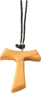 Olive Wood Tau Cross on Cord (2cm approx)