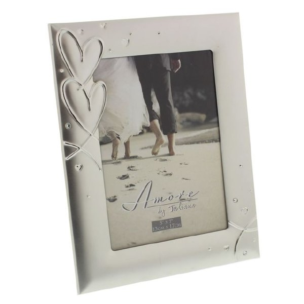"""AMORE Silverplated Frame With Hearts & Crystals 5"""" X 7"""""""