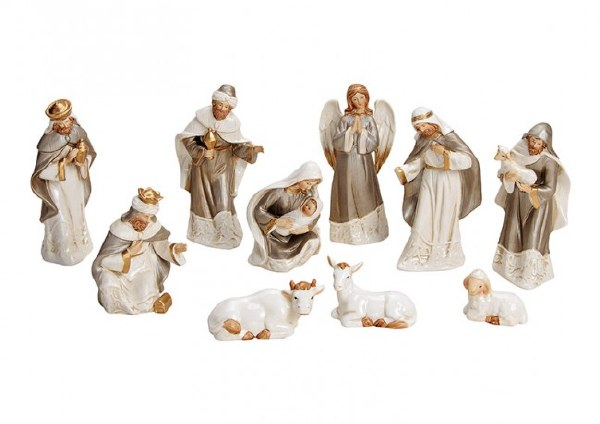 Cream Porcelain Nativity Set 10 figures  (16cm)