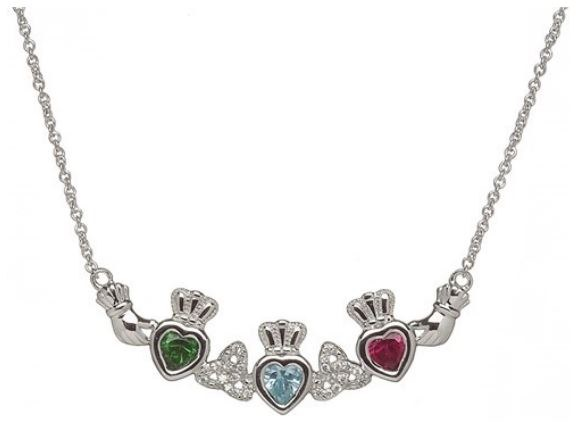 Sterling Silver 3 Stone Trinity Mothers Pendant