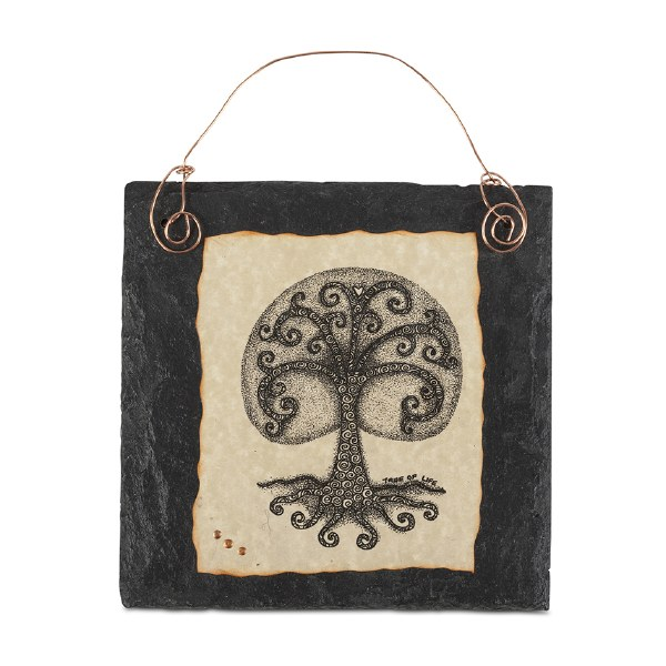 Tree of Life Doodle Art on Slate with copper wire