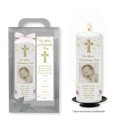 Baby Girl Baptism Candle with Bookmark