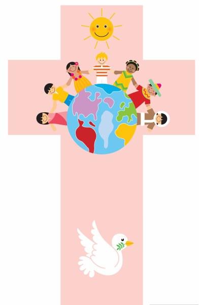 Pink Children of the World Cross (35cm)