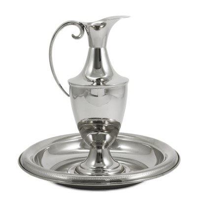 Baptism Pouring  Jug and Plate Nickel (25cm)