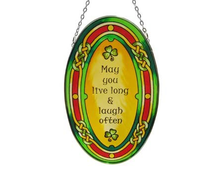 May You Live Long Oval Stained Glass Suncatcher