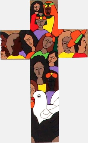 Faith in the World Hand Painted Cross (35cm)