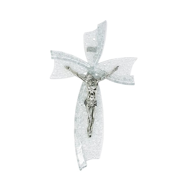 Silver Murano Glass crucifix (21cm)