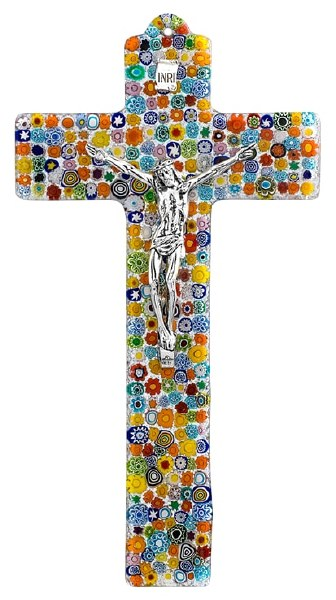 Specchio Murano Glass Crucifix with Silver Corpus (34cm)