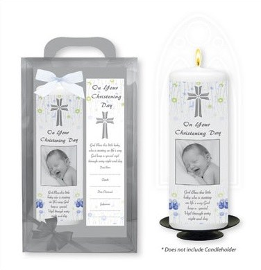 Baby Boy Baptism Candle with Bookmark