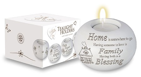 White Resin Home Blessing Candle Holder with Tealight