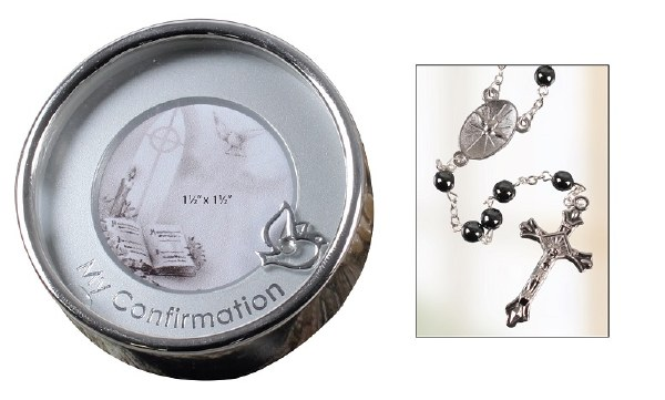 Confirmation Hematite Rosary in Silver Plated Keepsake Box