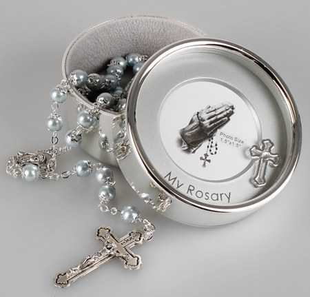 Blue Pearl Rosary Beads