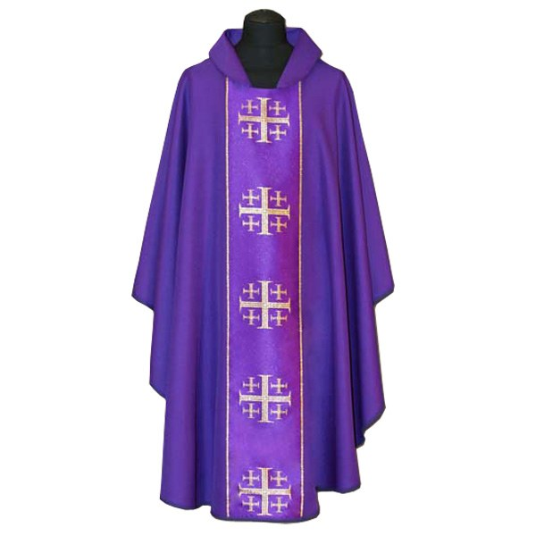 Purple Chasuble with Gold Printed Crosses