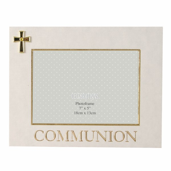 First Holy Communion Frame with Gold Cross motif