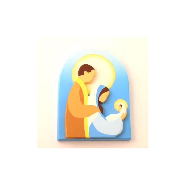 Hand Painted Circular Modern Holy Family Plaque