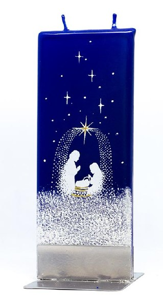 Starry Night Nativity Scene Handmade Flat Candle
