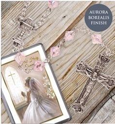 Pink Glass Communion Rosary Beads
