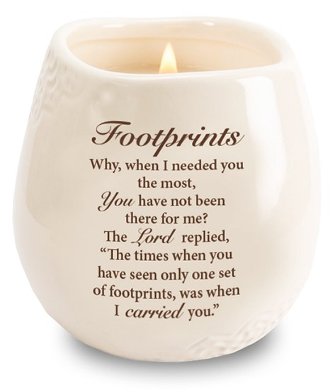 Stoneware Jar with Soy Wax Candle and Footprints message