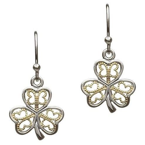 Sterling Silver W/Gold Plate Shamrock Earrings