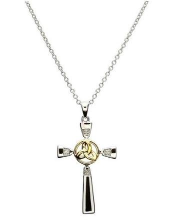 Sterling Silver Diamond Celtic Cross