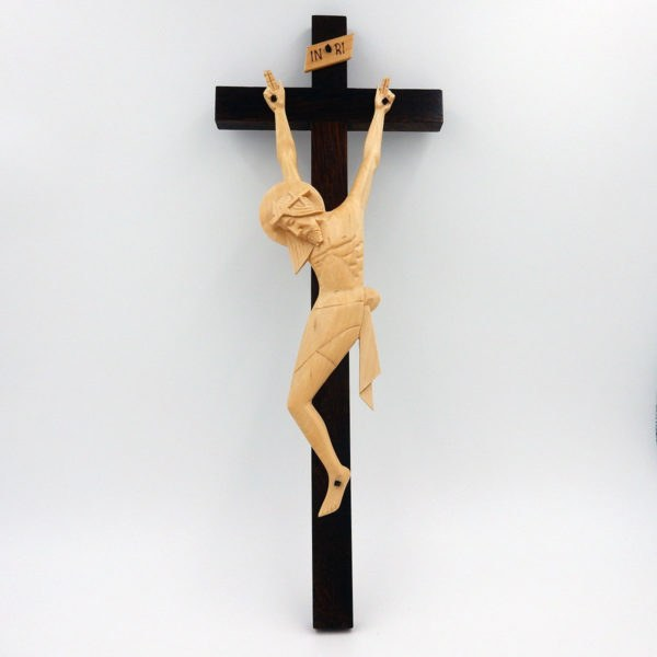 Hand Crafted Crucifix with Cream Corpus - Ideal for Schools/Churches/Sacred Spaces (40cm)