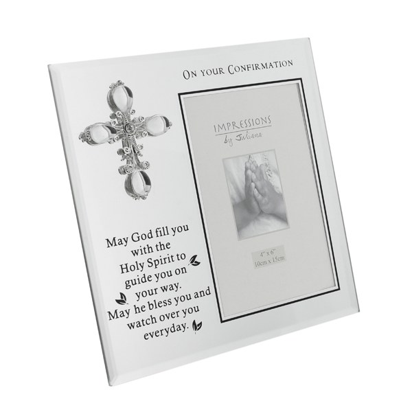 Glass Confirmation Frame with Jewel Cross