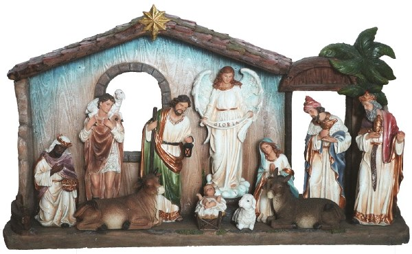 Large Nativity with Shelter 11 figures 30cm