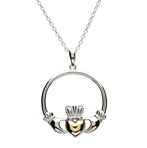 Sterling Silverl Gold Plate Claddagh Pendant