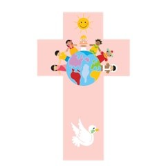 Pink Children of the World Wooden Cross (20cm)