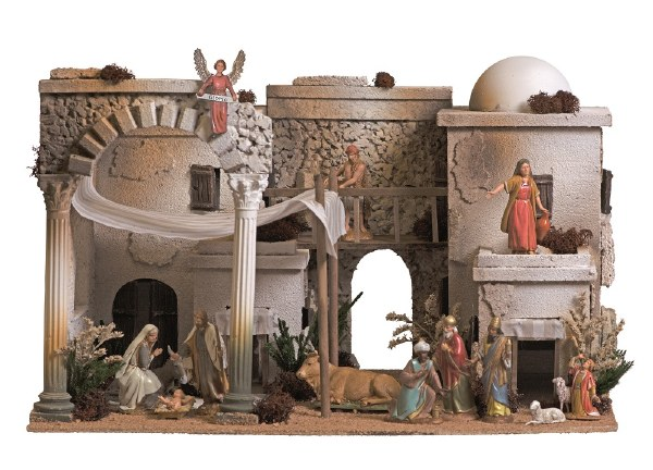 Traditional Bethlehem Village Nativity Scene with 13 Figures (30 x 35 x 50cm)